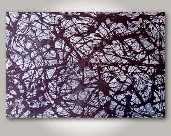 ORIGINAL Abstract Jackson Pollock style,  Black, Gray, Mixed Media Arcylic & Oil Painting (Number 1) Size: 36 x 24