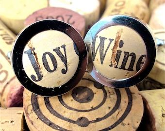 Wine Cork Cufflinks - Fun Cufflinks - Unique Cufflinks - Vineyard Wedding - Wino Gift