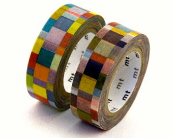 "Japanese Designer Washi Tape ""Mosiac"" by ""mt' NEUTRAL Hues.  10 meters"