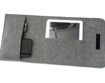 Felt iPad Portfolio, Portfolio Case, Travel Case, iPad Sleeve, iPad Case,  iPad Cover, iPad 4, iPad Air Case, Grey Felt