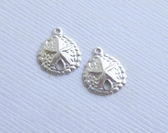 Sterling Silver Sand Dollar Charms -- 2 Pieces -- 925 Sterling Sand Dollar Pendants