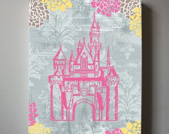 Princess Castle Canvas Reproduction Girls wall art, Pink And Gray Princess Canvas Art,  Girls Room Decor
