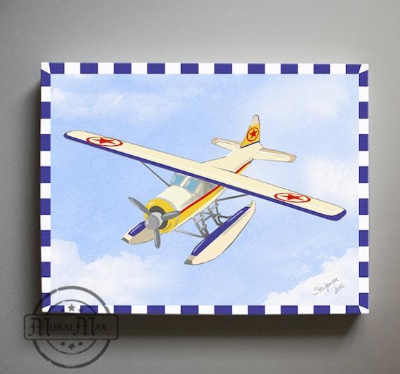 Kids Wall Art Airplane Nursery Art Vintage Airplane Canvas