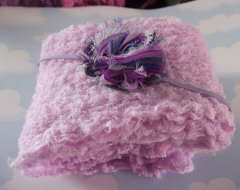 Wisteria Cheesecloth and Posh Roesette  Headband Photography Prop.. Newborn  Cheesecloth  wraps and Headband Set.. Baby Girl Headband