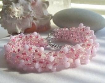 Seed Bead Bracelet, Beaded Cuff Bracelet, Handmade Jewelry, Pink Handwoven Bracelet, Beaded Jewelry, Southwestern Jewelry, Boho Jewelry