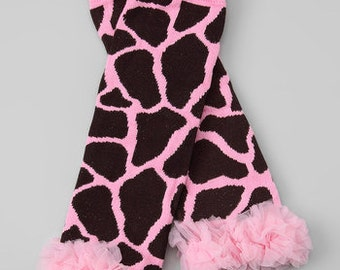 Pink Giraffe with ruffle Leg Warmers