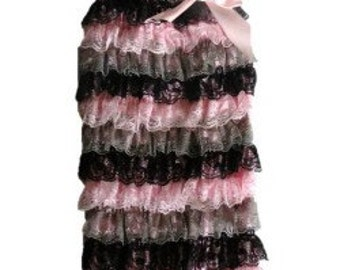 Vintage Pink Lace Romper- Small