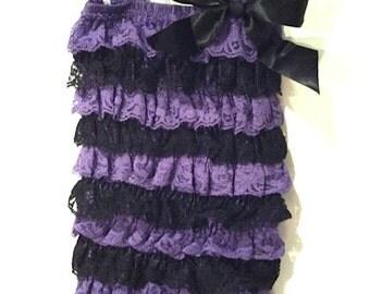Purple and Black Lace Romper