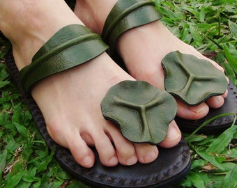 Handmade Leather Sandals Women and Men***Lotus leaves design***