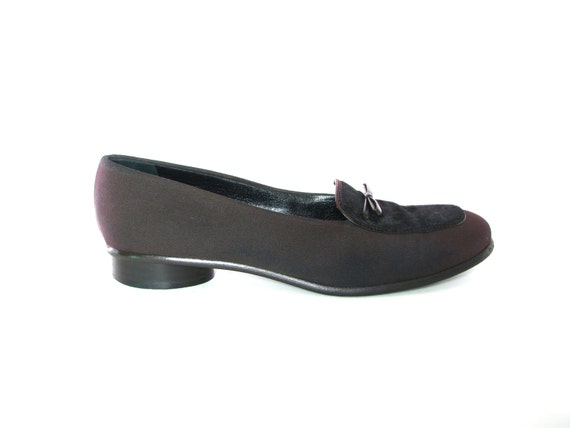 Anne Klein Loafers. Penny Loafer Style. Womens 8 1/2. Brown Slip On Ladies Low Heel Shoes. Hair on hide. Cowhide. Italy.