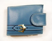 Vintage 60's Deadstock FAIRFIELD N.Y. Wallet Blue Genuine Cowhide w/ Belt Buckle Design