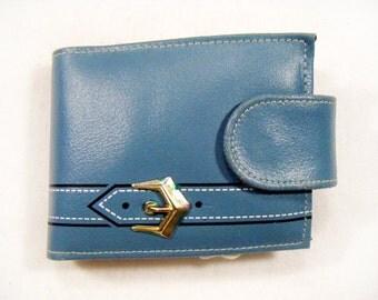 Vintage 60's Deadstock FAIRFIELD N.Y. Wallet Blue Genuine Cowhide w/ Belt Buckle Design