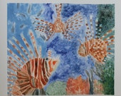 "Lionfish on a Coral Reef LARGE Color Monotype Ink Print - ""The Invasion"""
