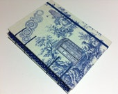 DOCTOR WHO Toile Fabric Handmade Journal Notebook - Tardis Box , Dalek & Weeping Angel - Coptic Stitched