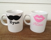 Personalized Mustache and Lips Coffee Cups - Wedding, Shower or Housewarming Gift