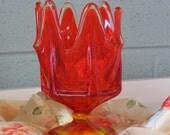 Vintage Red & Amber Retro Vase, 1940's
