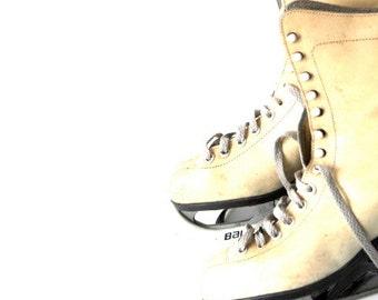 lady ice skates - size 37- winter fashion- shabby chic vintage- 60s- ivory white leather skates for her- season  2013