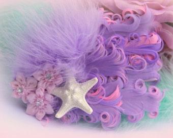 Mermaid's Garden, dance headpiece, tea party hair piece, mermaid fascinator, mermaid hair clip, pin up girl, purple mermaid headpiece,