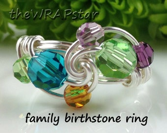 Gift Ideas for Mom Family Birthstone Ring Mothers Ring Wire Wrapped Jewelry Handmade Gift for Mom Personalized Gifts ITEM0325