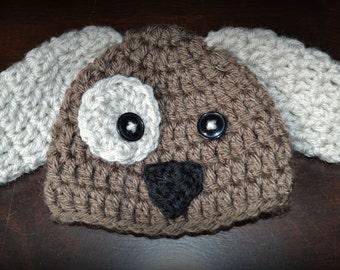 Crochet Puppy Dog Baby Beanie Hat  Photo Prop Custom Made Boy Girl