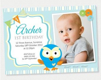 Hoot The Owl Birthday Invitation with Photo- DIY Printable