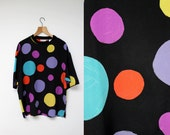 Vintage 1980s/1990s designer - Messori - Unisex oversize silk polka-dot short sleeve top - Large /// FREE shipping to Canada & USA