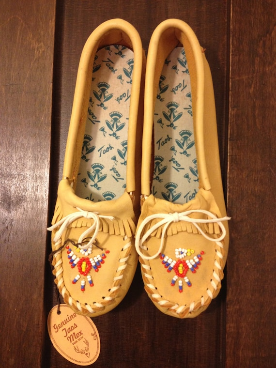 Handmade Taos Indian made Moccasins with Beading