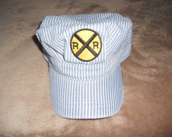 Child's Train Engineer Hat with Embroidered Railroad Crossing Sign, Adjustable back