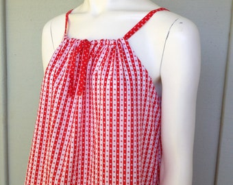 Hippie Chic Red  and White Summer Dress