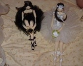 Handmade art doll ballerina black and white