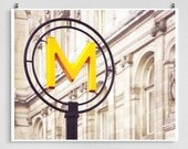 Paris, Metro sign  - Paris photo,Paris Metro,Fine art photography,Paris trends,Paris home decor,8x10 wall art,Yellow