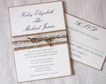 items similar to rustic lace wedding invitation, burlap wedding, Wedding invitations