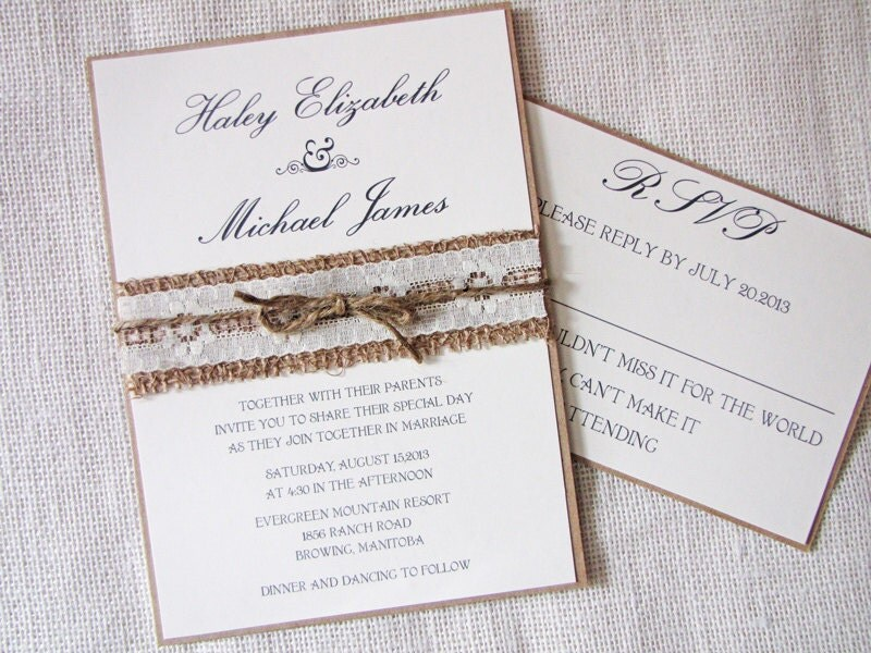 Burlap Wedding Invitations: Burlap Lace Wedding Invitation Rustic Country By