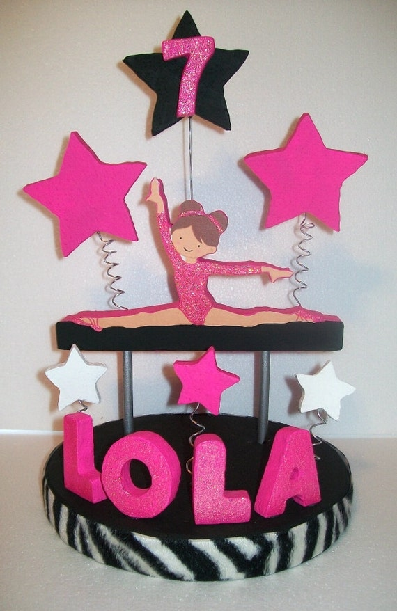 Items Similar To Gymnastics Pink Zebra 3d Custom Cake