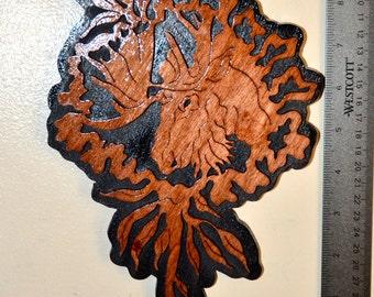 Moose/Marigold Wild Flower Scroll Saw Wall Plaque