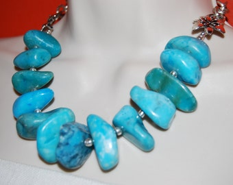 Statement  Necklace Turquoise Chunky Beaded Necklace Bold Wedding Bridesmaids Bride