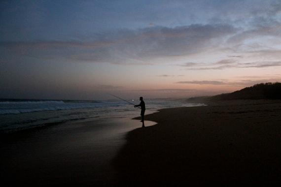 Unique Bedroom Beach Decor -- Fishing Photo -- Lone Fisherman on an Australian Seaside