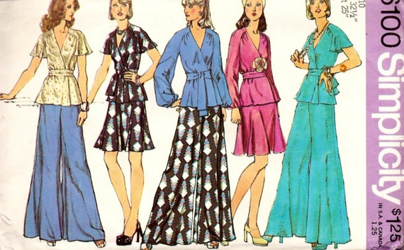 Simplicity 6100 Retro 1970s Front-Wrap Top, Short Skirt and Wide Leg Pants Sewing Pattern Sz 10