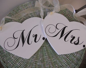 Wedding Signs Heart shaped Mr and Mrs Chair Signs