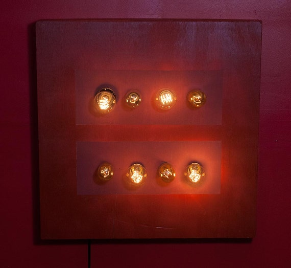 Gay Marriage Equality Wood Wall Hanging Art with vintage Edison Lights, 24x24x4