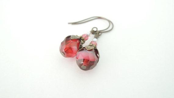 Ruby Red Swirl Czech Glass Earrings Victorian Vintage Inspired Shabby Chic Wedding Jewelry Antique Patina Burgundy Plum Wild Garden Designs
