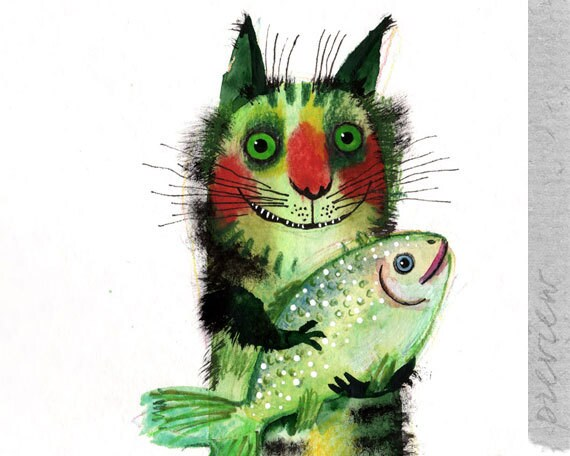 The cat with a fish, original painting by ozozo
