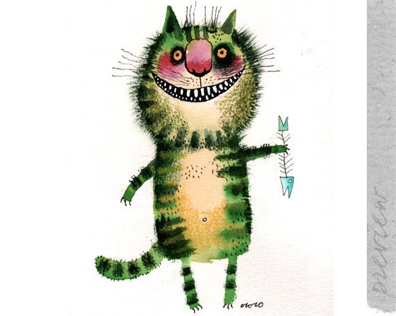 The green cat and a blue fish, original painting by ozozo