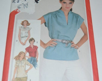 Vintage 80s Simplicity 5456 Misses Pullover Top - UNCUT - Sewing Pattern - Size 10
