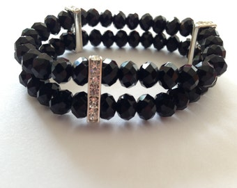Crystal Black Bracelet with Silver Spacers