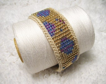 Loom Beaded Bracelet Gold and Purple Art Deco Style, Beige Crochet Trim - Loomed Beading - Womens Jewelry