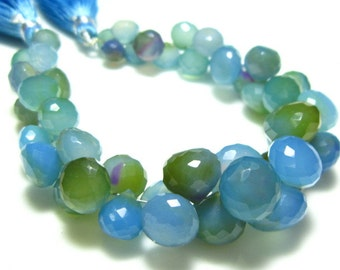 "AAA-Blue Shaded Chalcedony Faceted Onion Briolette- 6.5"" Strand -Stones measure- 7-10mm"