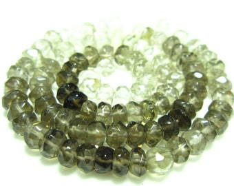 "Smoky Quartz Shaded Faceted Rondelle- 13"" Strand -Stones measure- 5mm"