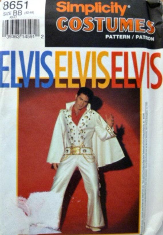 Vintage Simplicity 8651 Pattern Elvis White Jumpsuit Costume for Men Uncut Size 40 to 44 p3z