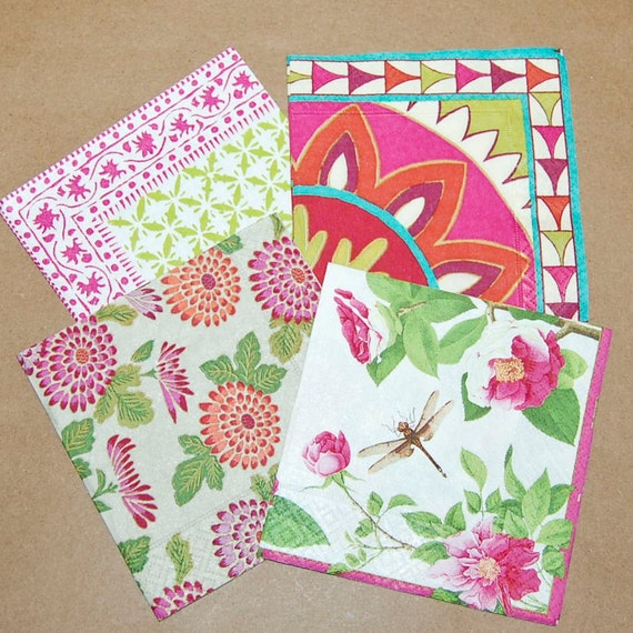 craft ideas with paper napkins decoupage pink and green set 4 paper napkins for decoupage 6335